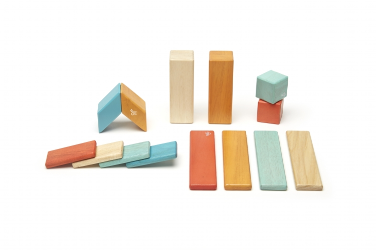 Tegu 42-Piece Classic Magnetic Wooden Block Building Toy Set Sunset NEW